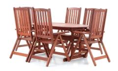 Dřevěný zahradní nábytek MERANTI PARIS SET 6 stolová sestava