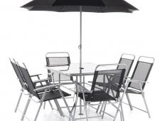 Zahradní nábytek CARLO 6 KOMPLET stolová sestava + slunečník